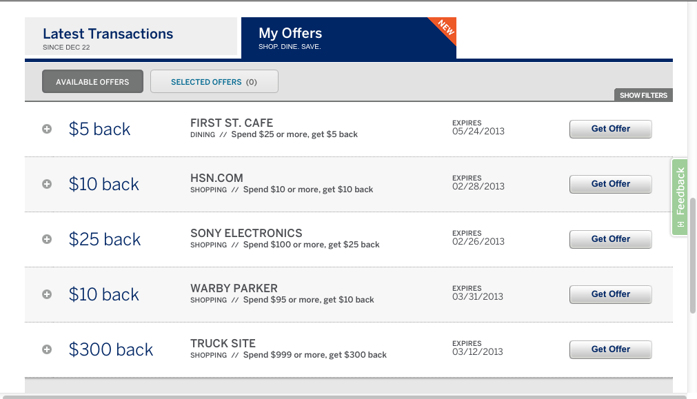 American Express My Offers