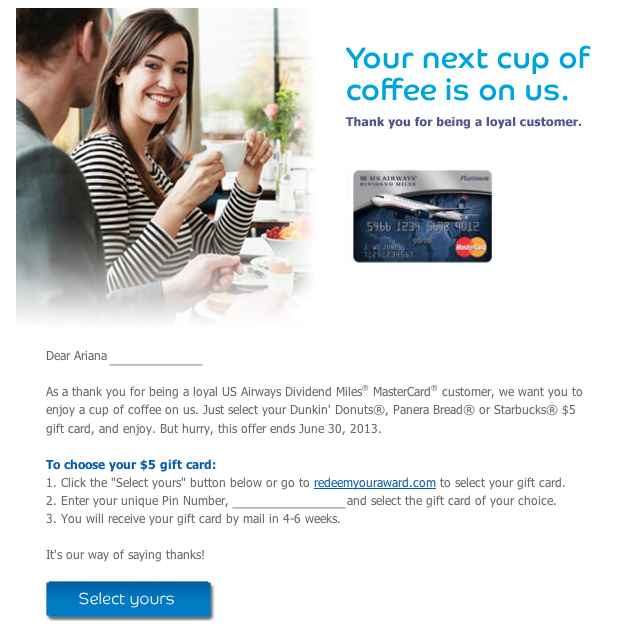 Free $5 Giftcard from US Airways Mastercard