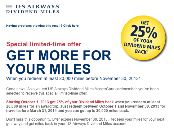 10-50% Award Discount for US Airways Dividend Miles MasterCard Holders