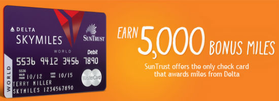 Mile-earning debit cards Suntrust Delta Skymiles Debit Card