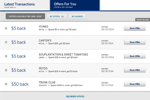 American Express Offers $5 iTunes credit