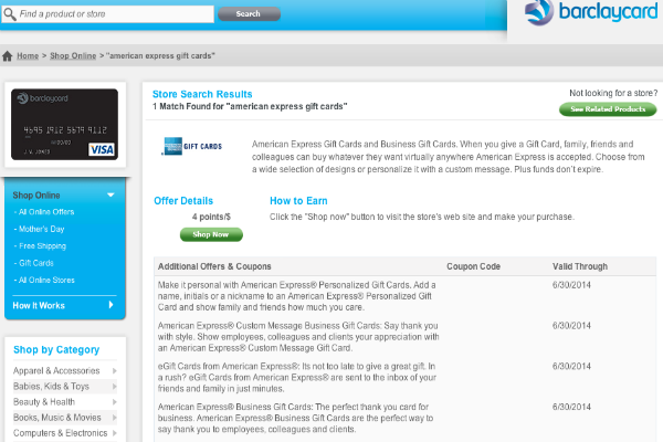 Barclay RewardBooster 4 miles Amex Giftcards