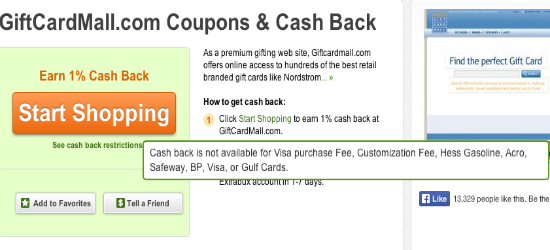 Visa Gift Cards Cash Back Extrabux