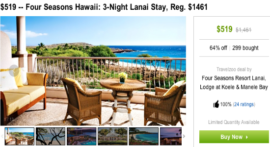 Four Seasons Lanai Travelzoo $173 per night