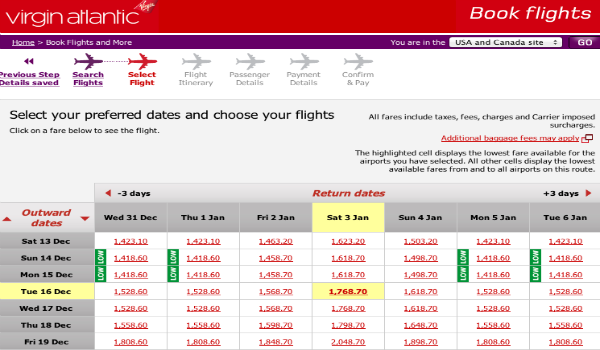 Low fares SFO - LHR on Virgin Atlantic Upper Class