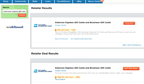 Big Crumbs 2 Amex Gift Cards