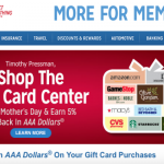 Earn 5% AAA Dollars on Gift Card Purchases