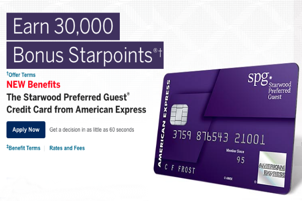 30000 point Starwood Preferred Guest Amex Card
