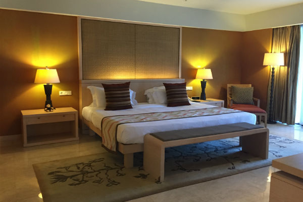 The bedroom of the Pool Suite