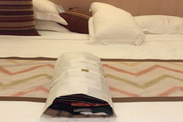 Laundry service at the Conrad Bali - timely and nicely wrapped!