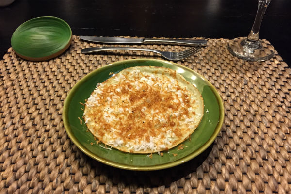 Coconut crepe prepared by the chef at Villa Bulung Daya