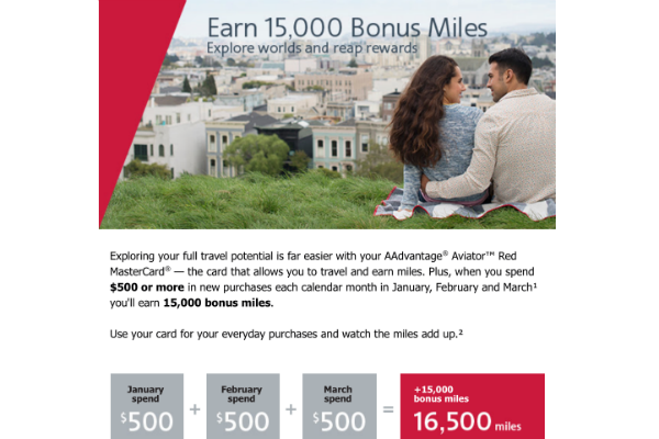 Targeted cardholders can earn 15,000 bonus miles from the Barcaly AAdvantage Mastercard