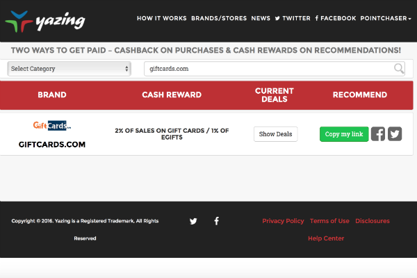 Yazing 2 percent cash back at giftcards.com
