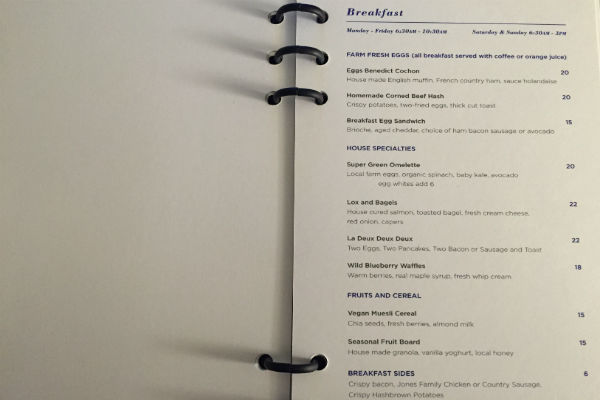 Cochon Volant Breakfast Menu at Hyatt Centric Chicago The Loop