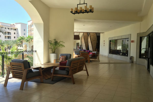 Seating on the lobby level terrace at Hyatt Ziva Los Cabos