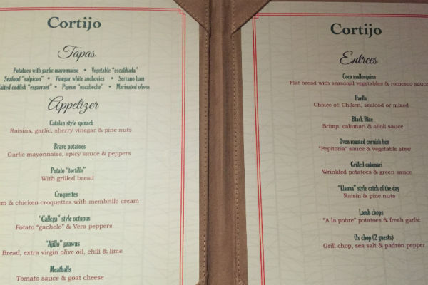 Menu at El Cortijo Spanish Restaurant Hyatt Ziva Los Cabos