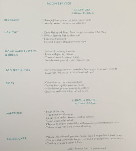 Room Service Breakfast Menu Hyatt Ziva Los Cabos
