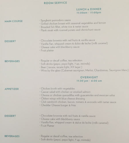 Room Service Menu at the Hyatt Ziva Los Cabos
