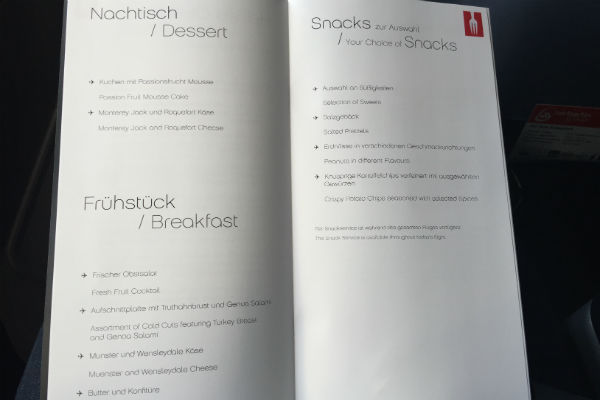 AirBerlin Business Class Breakfast Menu A330 SFO - DUS