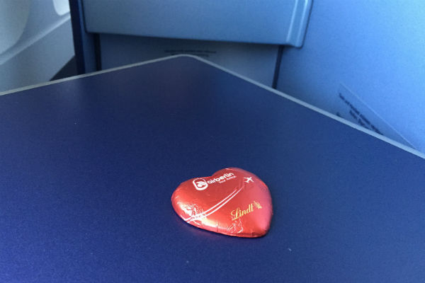 AirBerlin Business Class SFO to DUS: Chocolate as a parting gift