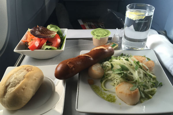 AirBerlin Business Class Scallops and Salad A330 San Francisco to Dusseldorf Salad