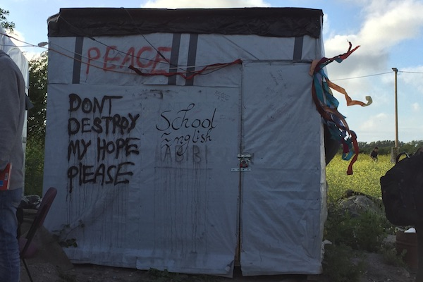 Makeshift container in the Jungle Books School Calais Refugee Camp