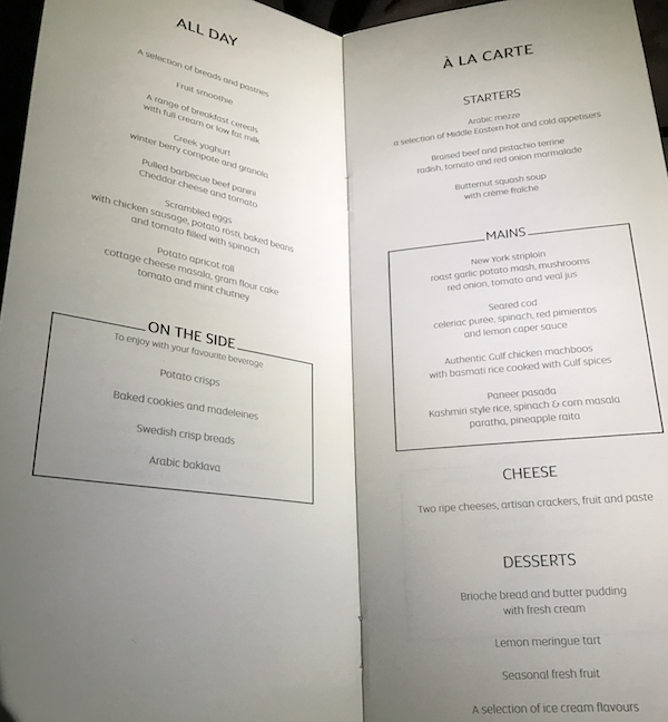 Etihad Business Class Drink Menu on flight 182 from San Francisco to Abu Dhabi