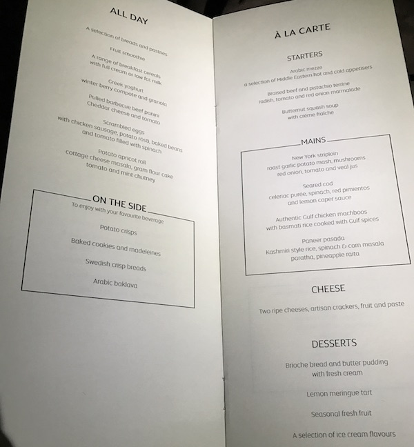 Etihad Business Class Menu on flight 182 from San Francisco to Abu Dhabi