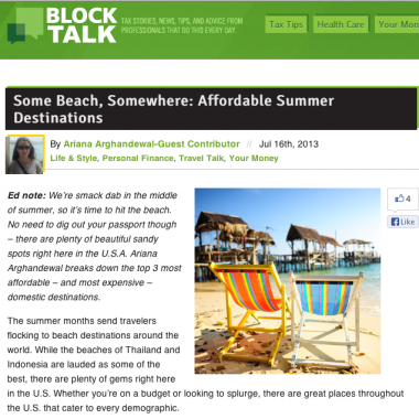 H&R Block Talk Guest Post: Affordable Beach Destinations
