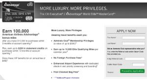 Citi Executive AAdvantage World Mastercard 100000 mile offer