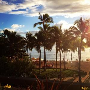 View from the Hyatt Regency Waikiki Beach Club Lounge
