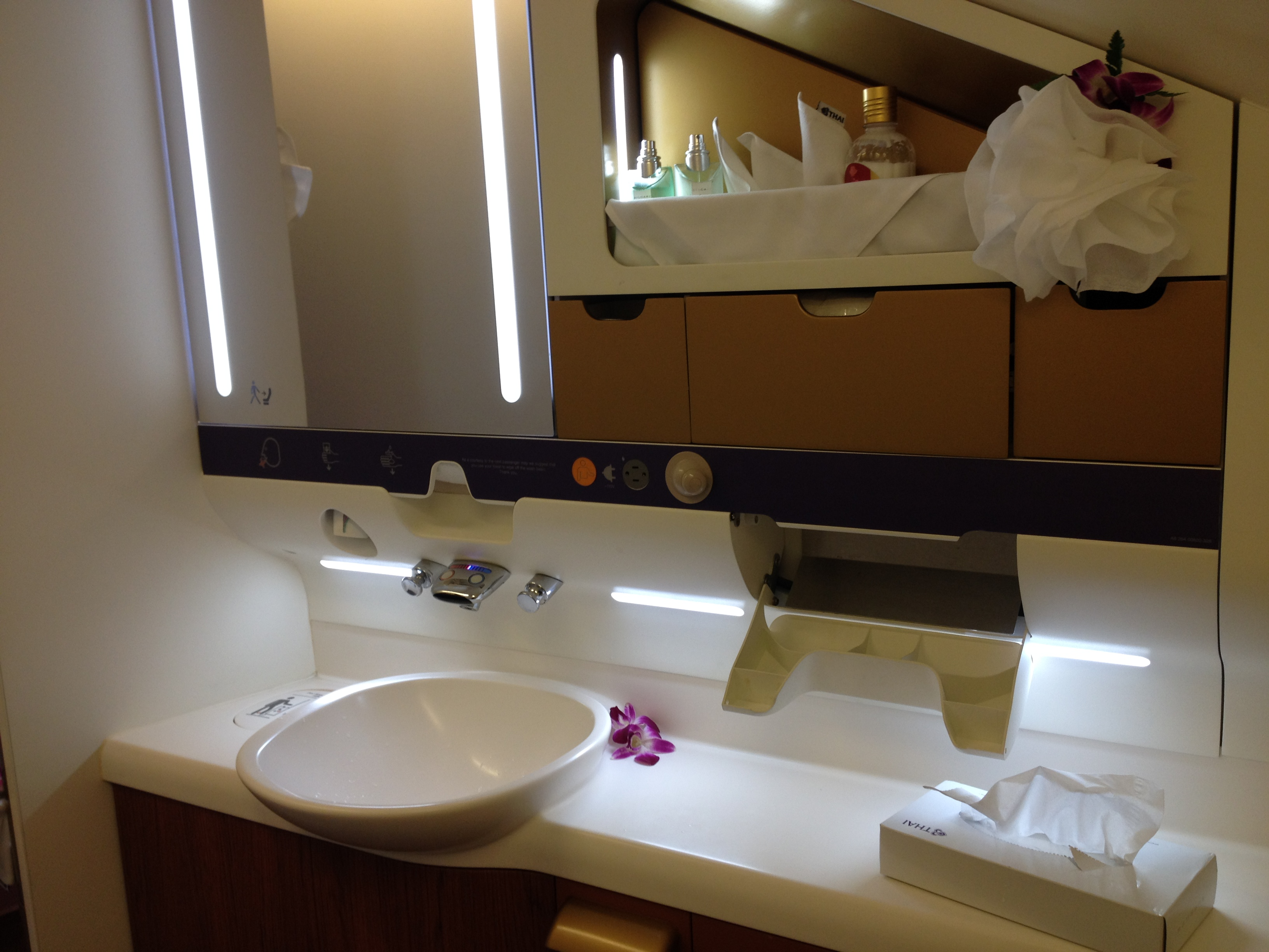 Thai Airways A380 First Class Bathroom Bvlgari Amenities