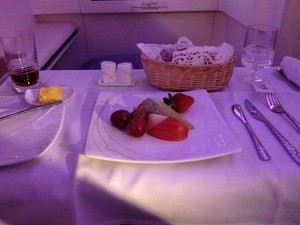 Thai Airways A380 First Class Fruit Plate and Bread Basket