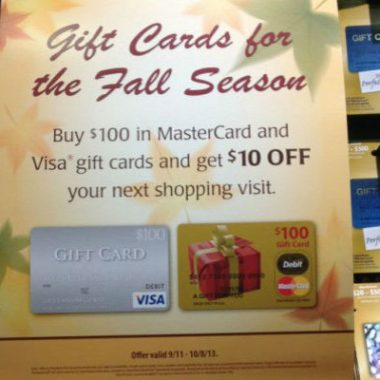 Visa Mastercard gift cards at Safeway