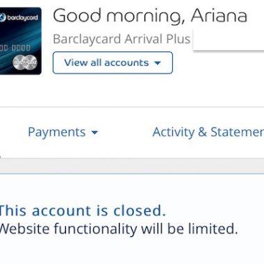 Barclay Credit Card Account Shutdown