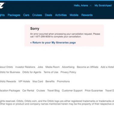Orbitz online cancellation error