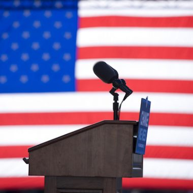 Podium behind American flag