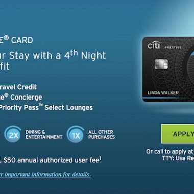 Citi Prestige Credit Card Points